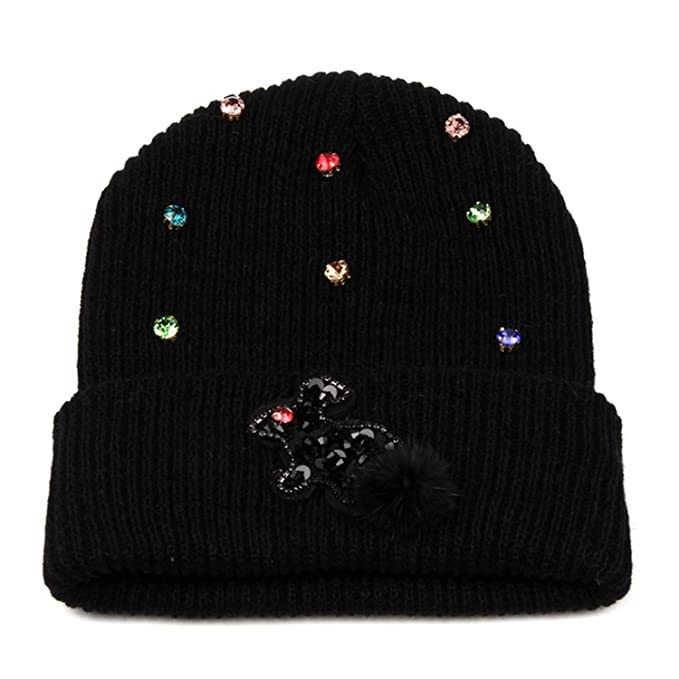 c9941b4a Knitted Winter Hats Women Rabbit Rhinestone Beanie Ladies Warm Hats Men  Solid Color Unisex Bonnet Black