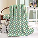 HAIXIA Throw Blanket Ceramic Tile Floral Shaped Pastel Toned Ceramic Tile Style Ornate Arabian Mosaic Khaki Turquoise
