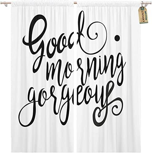 Emvency Thermal Blackout Curtains/Drapes Set of 2 Panels 52″ W x 96″ L Black Good Morning Gorgeous Graphic Hello Inscription Window Curtain