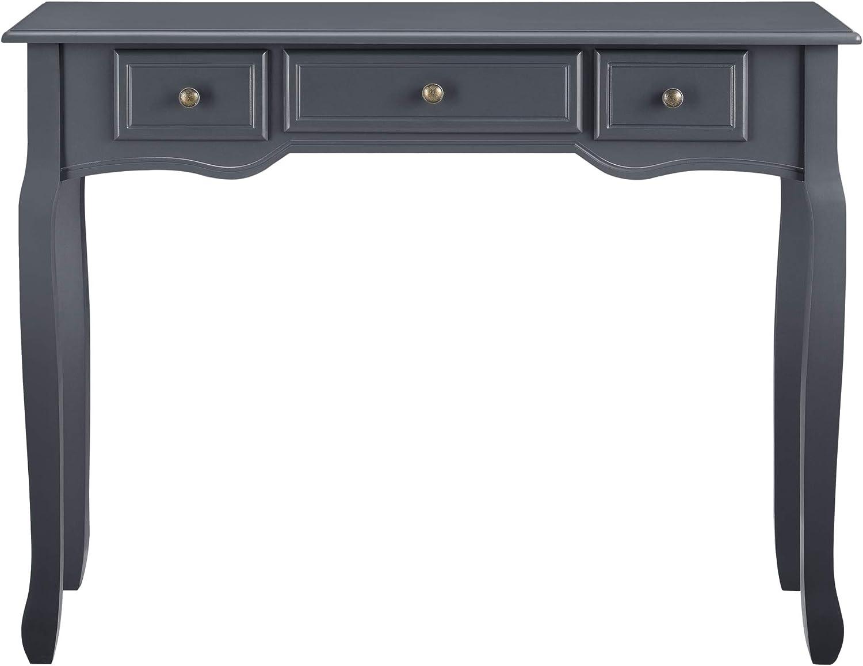 en.casa Table Console Table dEntr/ée Table de Salon Vintage avec 3 Tiroirs MDF Pieds en Pin Boutons en M/étal Alliage de Zinc Noir 78 x 100 x 35 cm
