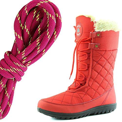 Dailyshoes Donna Comfort Punta Rotonda Metà Polpaccio Caviglia Alta Eskimo Inverno Neve Stivali Di Pelliccia, Caldo Rosa Lime Rosso