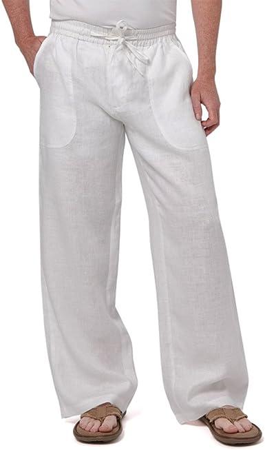 Amazon Com Hombres Ligero Ropa Cordon De Ajuste Regular Big Tall Pantalones 100 Lino Big Bolsillos Xxxxxl Blanco Clothing