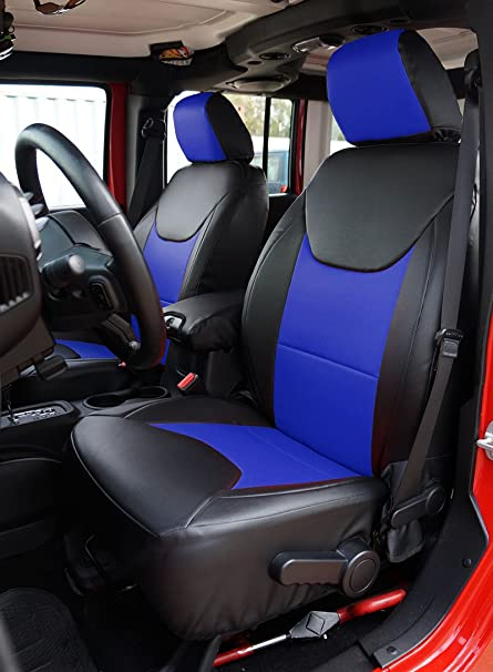 Amazon Com Iggee Artificial Leather Custom Made Original Fit Front And Rear Seat Covers Designed For Jeep Wrangler Jk 4doors 2013 2017 Black Blue Automotive