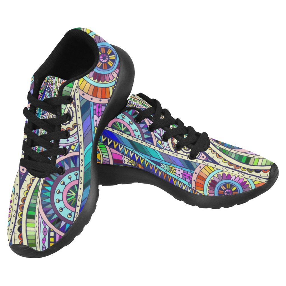 InterestPrint Women's Jogging Running Sneaker Lightweight Go Easy Walking Casual Comfort Running Shoes Size 11 Geometric Mosaic Style Colorful Flower Pattern