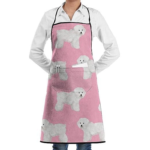 Delantal de chef de cocina ajustable de tela Bichon Frise con ...