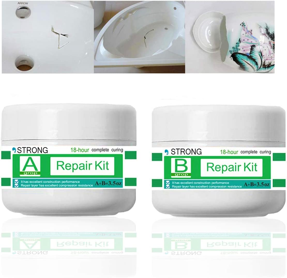 Tub, Tile, Porcelain and Shower Fiberglass Repair Kit for White Tubs, Porcelain Ceramic Fiberglass Stone Chips Scraps Drill Holes Repair, Joint or Installation Adhesive