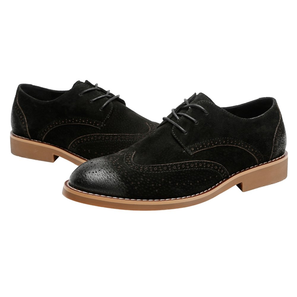 Hilotu Clearance Party Shoes Men's Classic Business Shoes Matte Breathable Hollow Carving Genuine Leather Lace Up Lined Oxfords (Suede Optional) (Color : Suede BLK, Size : 8 D(M) US) by Hilotu-shoes (Image #3)