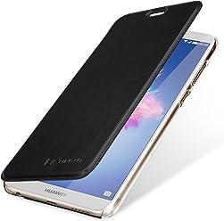StilGut Berlin Book Type Case, Custodia per Huawei P Smart con NFC/RFID Blocker in plastica Trasparente con Patta in Pelle Nappa. Nero/Trasparente