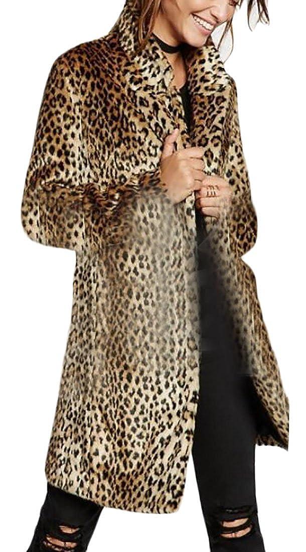Rrive Womens Slim Fit Leopard Print Lapel Faux Fur Long Jacket Coat