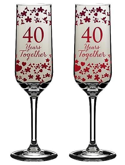 Calici Da Champagne Per Anniversario Di Matrimonio Con Scritta 40
