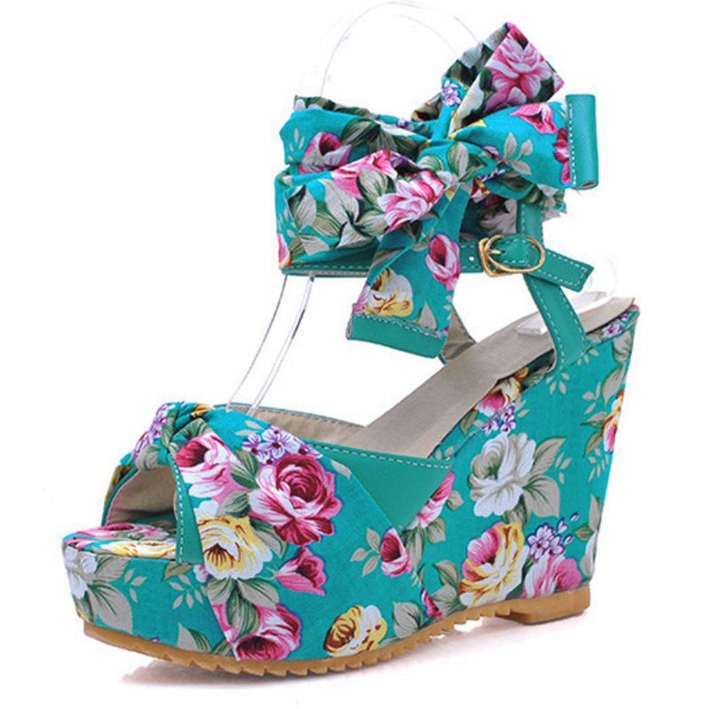 Smilice Women Wedge Heel Sandals Colorful Straps Shoes Peep Toe Cute Shoes B06XYWGXCY 36 EU = US 5 = 23 CM|Blue