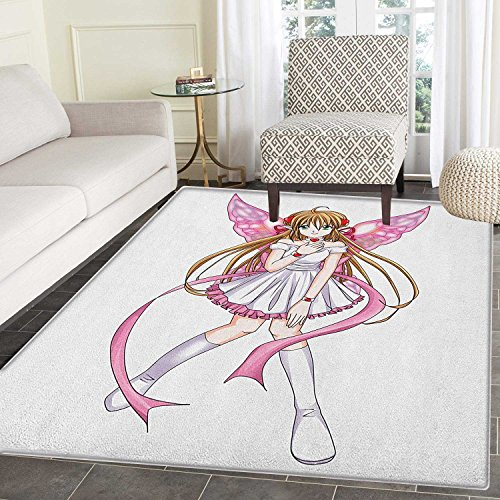 Anime Rugs for Bedroom Cartoon Illustration of a Pixie Character with Hearts and Wings Fantastic Fairy Angel Circle Rugs for Living Room 2'x3' Multicolor ()