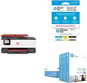 HP OfficeJet Pro 8035 All-in-One Wireless Printer - Coral (4KJ65A) with Instant Ink 5 Dollar Prepaid Card and HP Office20 Paper