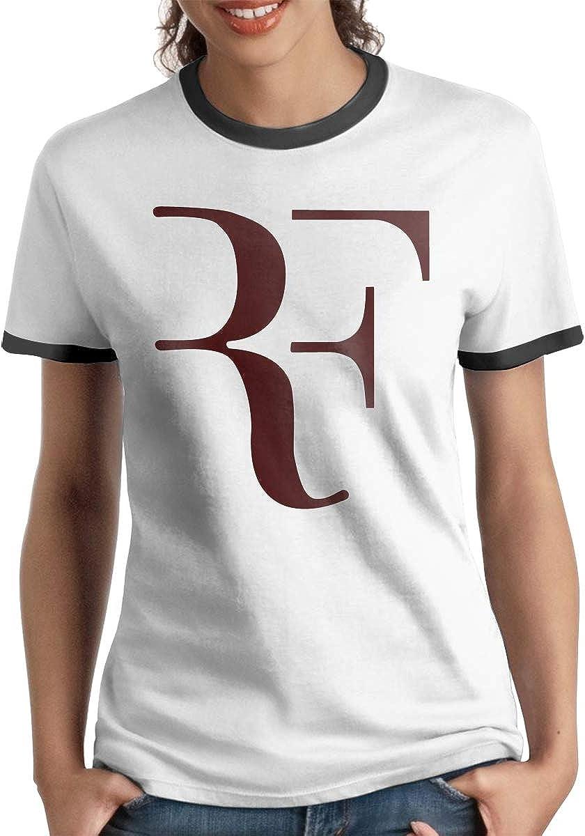 Queen Elena RF Logo Roger Federer 1, Camiseta de algodón con Contraste de Color de Manga Corta y Camisetas de Moda Casual para Parejas Negro Negro (L: Amazon.es: Ropa y accesorios