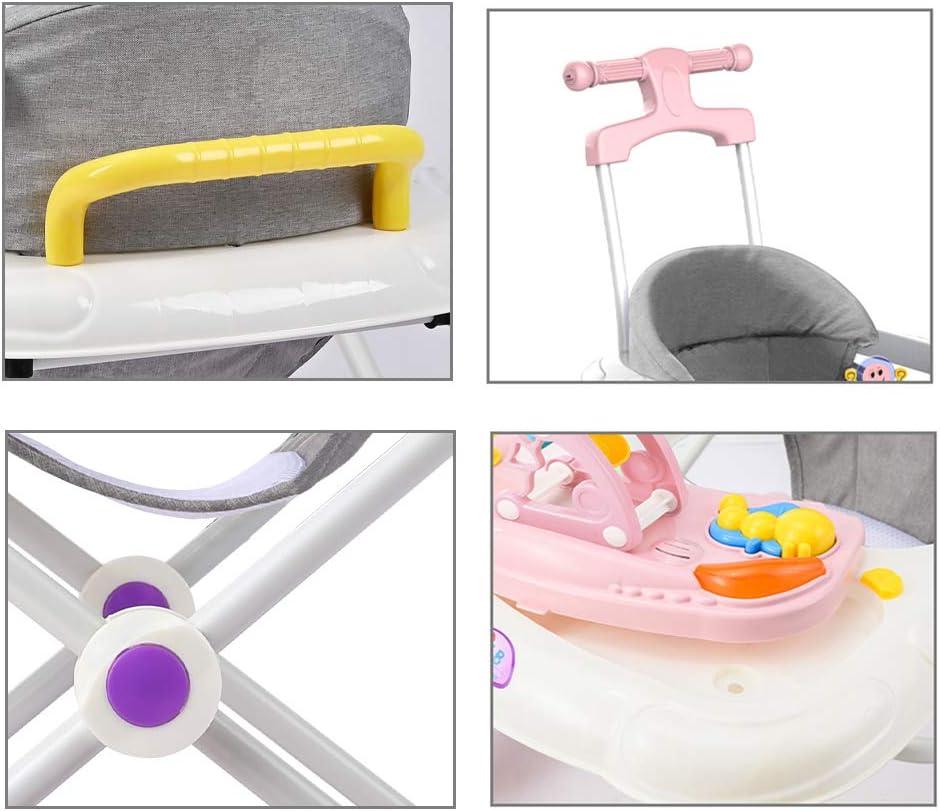prevenir Las piernas Juntas Olz Andador Bebe multifunci/ón con Bandeja Desmontable M/úsica 6 Alturas Ajustables Plegable Walker Anti-vuelco Durante 6-18 Meses de beb/é