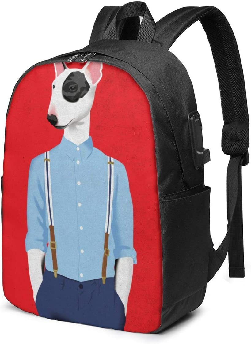 Fashion Boy Bull Terrier Dog Personality 17 Inch College School Computer Bag Laptop Backpack with USB Charging Port for Women Men College Student Travel Outdoor Camping Daypack