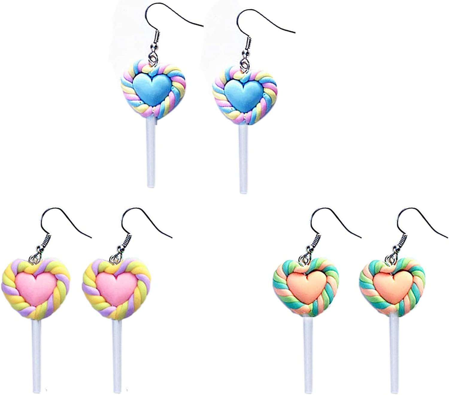 3 Pairs Funny Cute Resin Heart-shaped Lollipop Drop Earrings Handmade Candy Simulation Food Dangle Earrings for Women Girls Friendship Exaggerated Cartoon Trend Style Jewelry Gifts