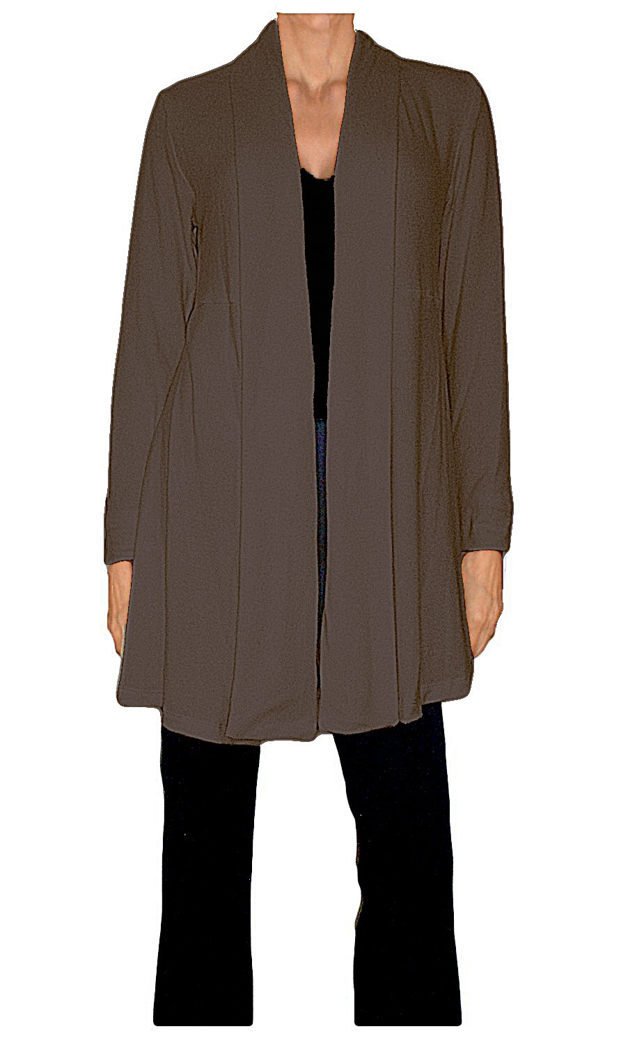 Ooh la la Jersey Knit Shawl Collar Flared Above The Knee Cardigan (Large 36-37, Brown) by Ooh la la