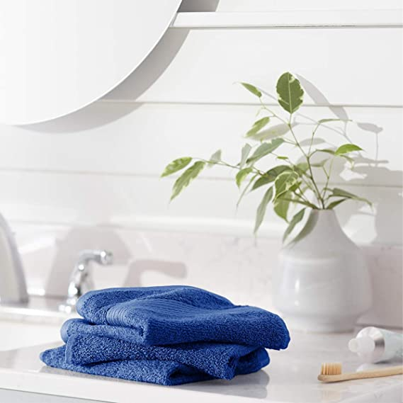 AmazonBasics Fade-Resistant Cotton Washcloths - Pack of 12, Navy Blue
