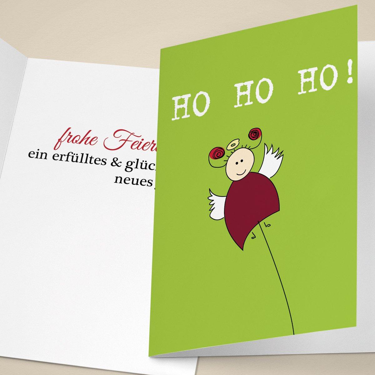 20er Set Komische Unternehmen Unternehmen Unternehmen Weihnachtskarten mit lustigem Engelchen, mit ihrem Innentext (Var5) drucken lassen, als geschäftliche Weihnachtsgrüße   Neujahrskarte   Firmen Weihnachtskarte für Kunden, Geschäftspartner, Mitarbeite b03d5a