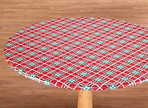 Winter Round Table Cover (Winter Plaid Vinyl Elasticized Table)