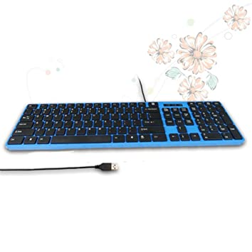 Chocolate con cable USB Teclado multifunción portátil ordenador de sobremesa con cable teclado USB Socket azul azul: Amazon.es: Informática