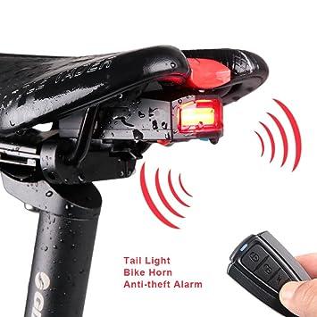 PENVEAT Luces traseras para bicicleta + alarma antirrobo USB ...