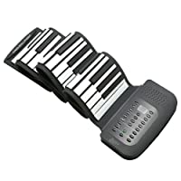 Lujex 88 61 49 Keys Roll Up Piano Portable Rechargeable Electronic Hand Roll Piano with Environmental Silicone Keyboard and Horn for Kids Adults (88 Keys)