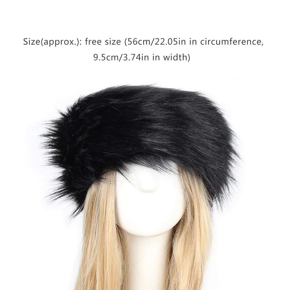 glory.D Fluffy Faux Fur Headband With Stretch Womens Winter Earwarmer Earmuff Fur Hat Winter Ear Warmer Women Earmuff Ski Cold Weather Caps
