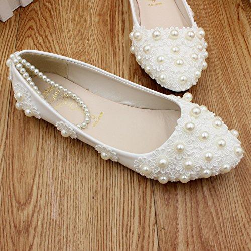honor las perla de novia y mujeres Si amp; dama banquete de verano hechas boda partido a mano las y Zapatos de etiquetas la de vestido la tobillo resorte de y 3CM la xw4O6aYqO