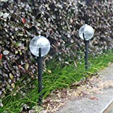 EnjoCho Solar Powered Light, 2 Pcs Garden Pathway Lights Upgraded LED Buried Lamps for Ground Outdoor Solar Landscape Path Yard Colorful Light (Black)
