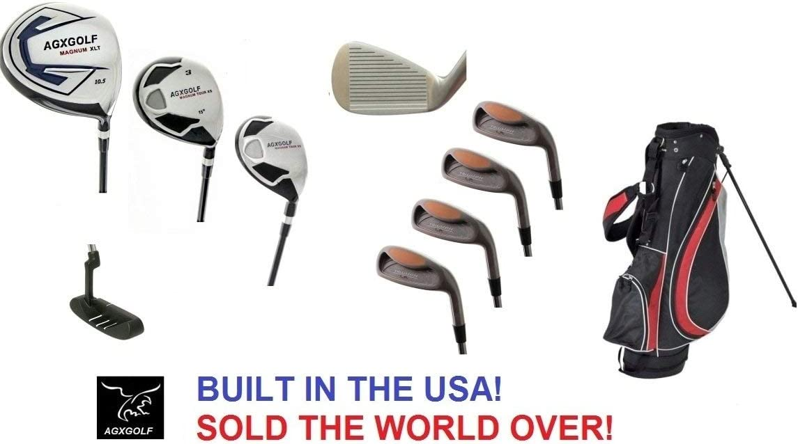 AGXGOLF Men s Magnum Executive Edition Golf Club Set w Stand Bag Made in USA Right Hand Cadet, Regular or Tall Length, Graphite Woods 4, 6, 8 Irons Pitching Wedge Free Putter