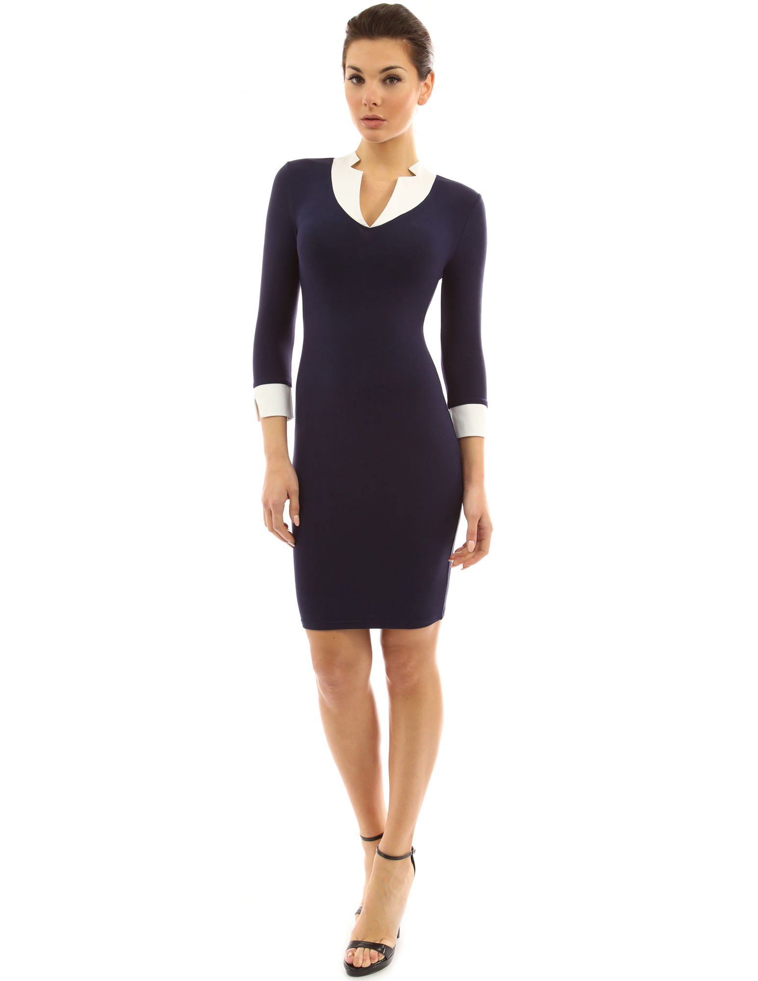 PattyBoutik Women's 2 in 1 Style Inset Stretch Dress (Navy Blue S) by PattyBoutik