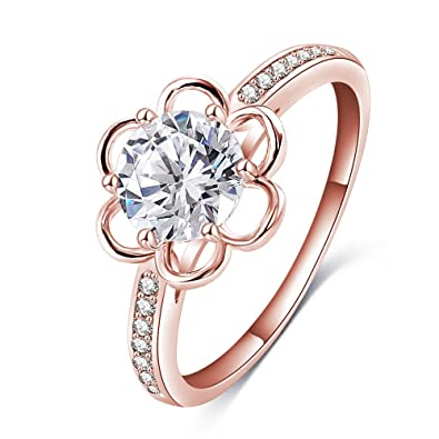 32ed22497 Amazon.com: LuckyWeng New Exquisite Fashion Jewelry Rose Gold Exquisite  Diamond Flower Zircon Ring: Jewelry