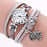Outsta Watch Fashion Women Girls Analog Quartz Owl Pendant Ladies Dress Bracelet Watches for Girls Women Gift Present (Gray)