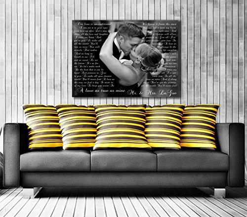 Song Lyric Art/ Custom Wedding Canvas Print with Love Story/ Poem/ Lyrics/ Vows Wedding Song, Vows. Unique Wall Decor. ()