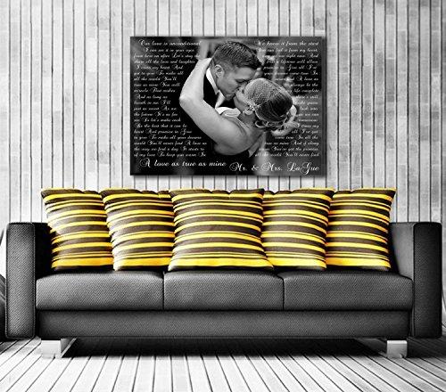 Song Lyric Art/ Custom Wedding Canvas Print with Love Story/ Poem/ Lyrics/ Vows Wedding Song, Vows. Unique Wall Decor. ()