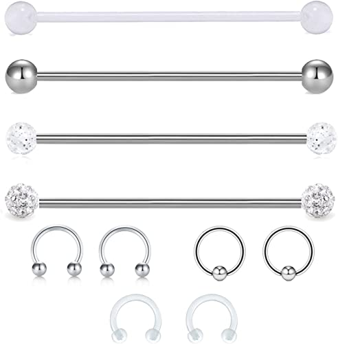Industrial Barbell Cartilage Earring Body Jewelry Surgical Steel 14g 38mm