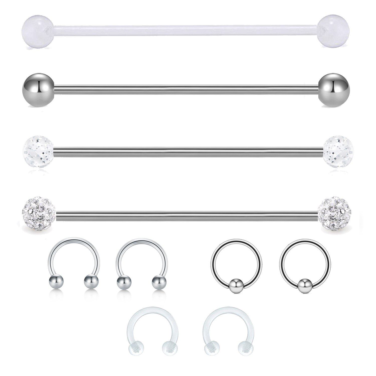 "JFORYOU 14G Cartilage Earring Industrial Barbells Surgical Steel Clear acrylic Industrial Cartilage Tragus Helix Earring, 1 1/2""(38mm) Body Piercing Jewelry 1 1/2""(38mm) JFORYOU Body Jewelry 38BB-012"