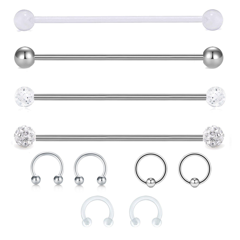 "JFORYOU 14G Cartilage Earring Industrial Barbells Surgical Steel Clear acrylic Industrial Cartilage Tragus Helix Earring, 1 1/2""(38mm) Body Piercing Jewelry 1 1/2""(38mm) JFORYOU Body Jewelry 38BB-012"