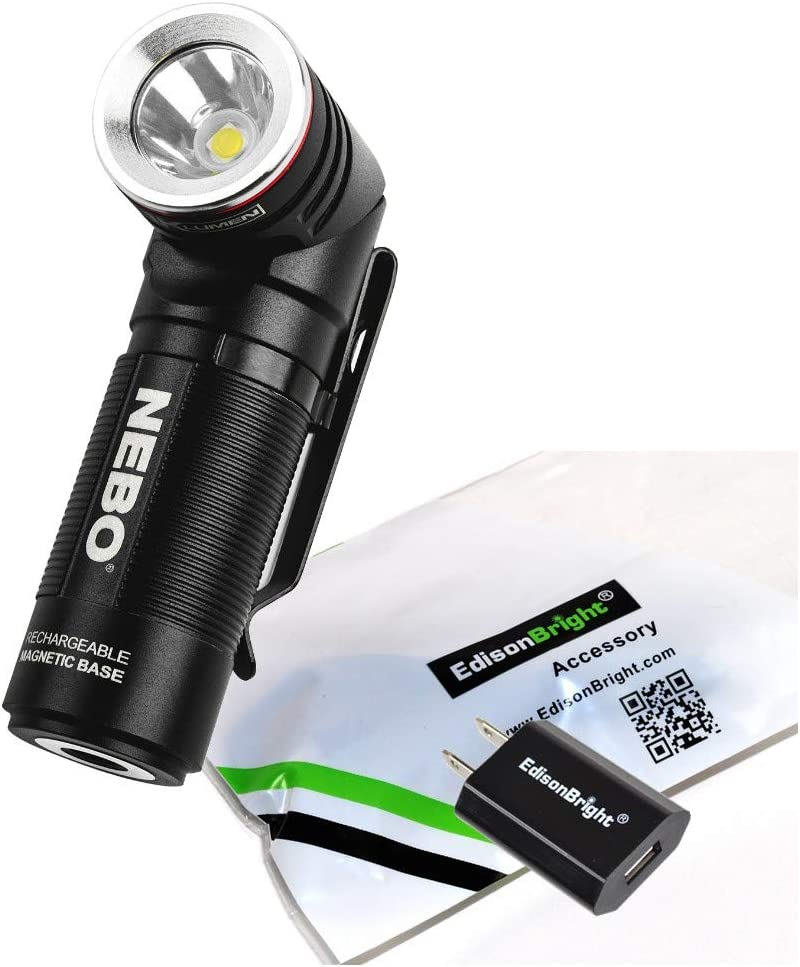 Nebo 6907 SWYVEL 1000 Lumen USB Rechargeable rotating head LED Flashlight/Worklight, Rechargeable Li-ion Battery with EdisonBright USB Charger Bundle
