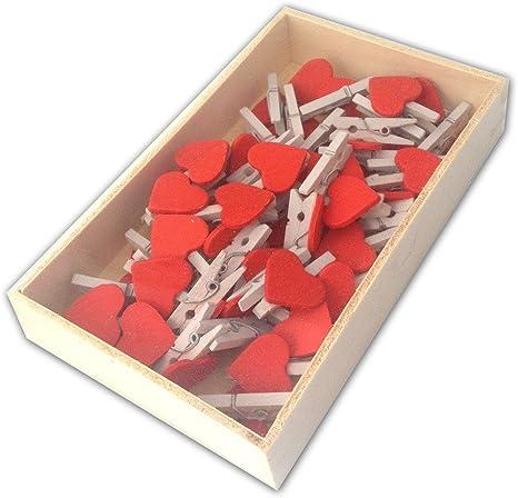 LWR manualidades de madera Mini pinzas con blanco corazón rojo 48 ...