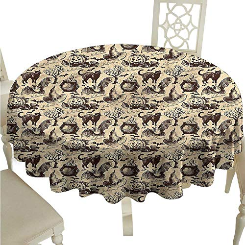 crabee Personalized Tablecloths Vintage Halloween,Black Cat Motif,Round Tablecloth]()