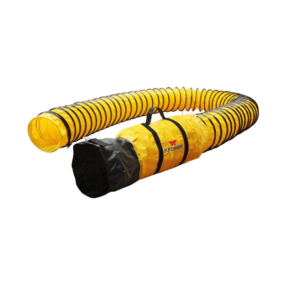 XPOWER 8DH25 PVC Extra Flexible Ducting Hose, -20 to 180 degrees F Temperature Range, 25' Length, 8'' ID