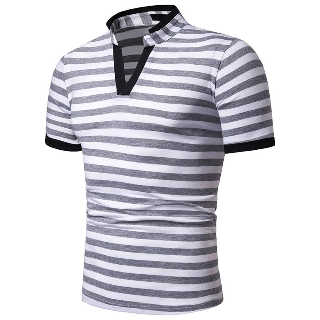 LEXUPA BHYDRY Mens t Shirts Summer Fashion Mens Casual Stand Collar Stripe Splice Short Sleeve Top Blouse