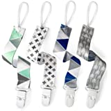 PandaEar Baby Pacifier Clips Solid Color, 4 Pack Universal Holder Leash for Boys and Girls, Teething Toys Teethers (Neutral)