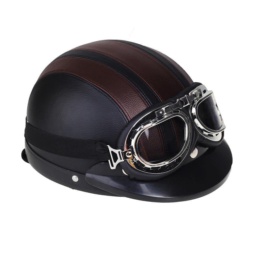 Shsyue® Casco Abierto Protección para Motocicleta de la Vendimia Retro con Visera Gafas Bufanda 0128
