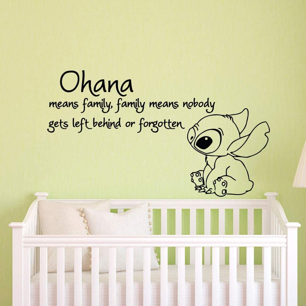 miseda Wall Art Stickers Quotes and Sayings Stitch Decal Stitch Sticker Ohana Means Family Means Nobody Get Left Behind Or Forgotten Lilo and Stitch Baby Nursery