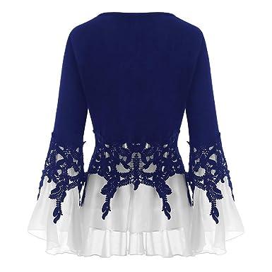 ☆ Rovinci ☆ ¡Hola! Blusa de Las Mujeres Elegante Moda Tallas Grandes Apliques Casuales Gasa fluida Cuello en V Blusa de Manga Larga Tops Camisetas: ...