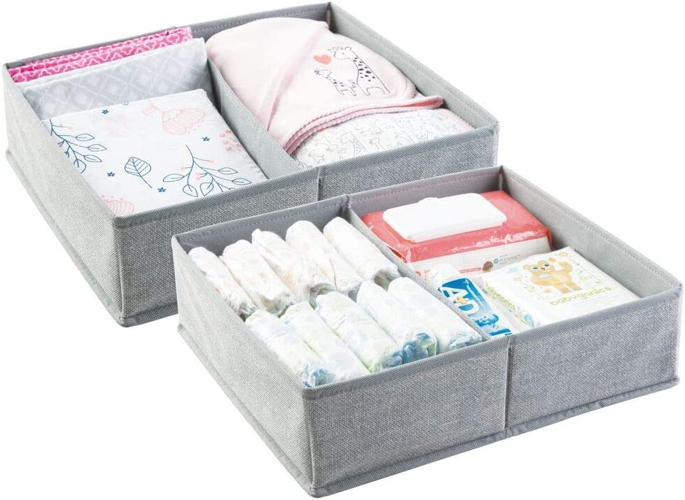 mDesign Cajas almacenaje juego de 2-2 Cajas organizadoras con 2 compartimentos - Cajas almacenaje ropa en plástico - Color: gris: Amazon.es: Hogar